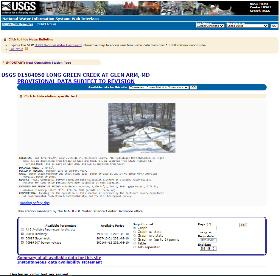 Screen capture of a legacy monitoring location page for 01584050 LONG GREEN CREEK AT GLEN ARM, MD.