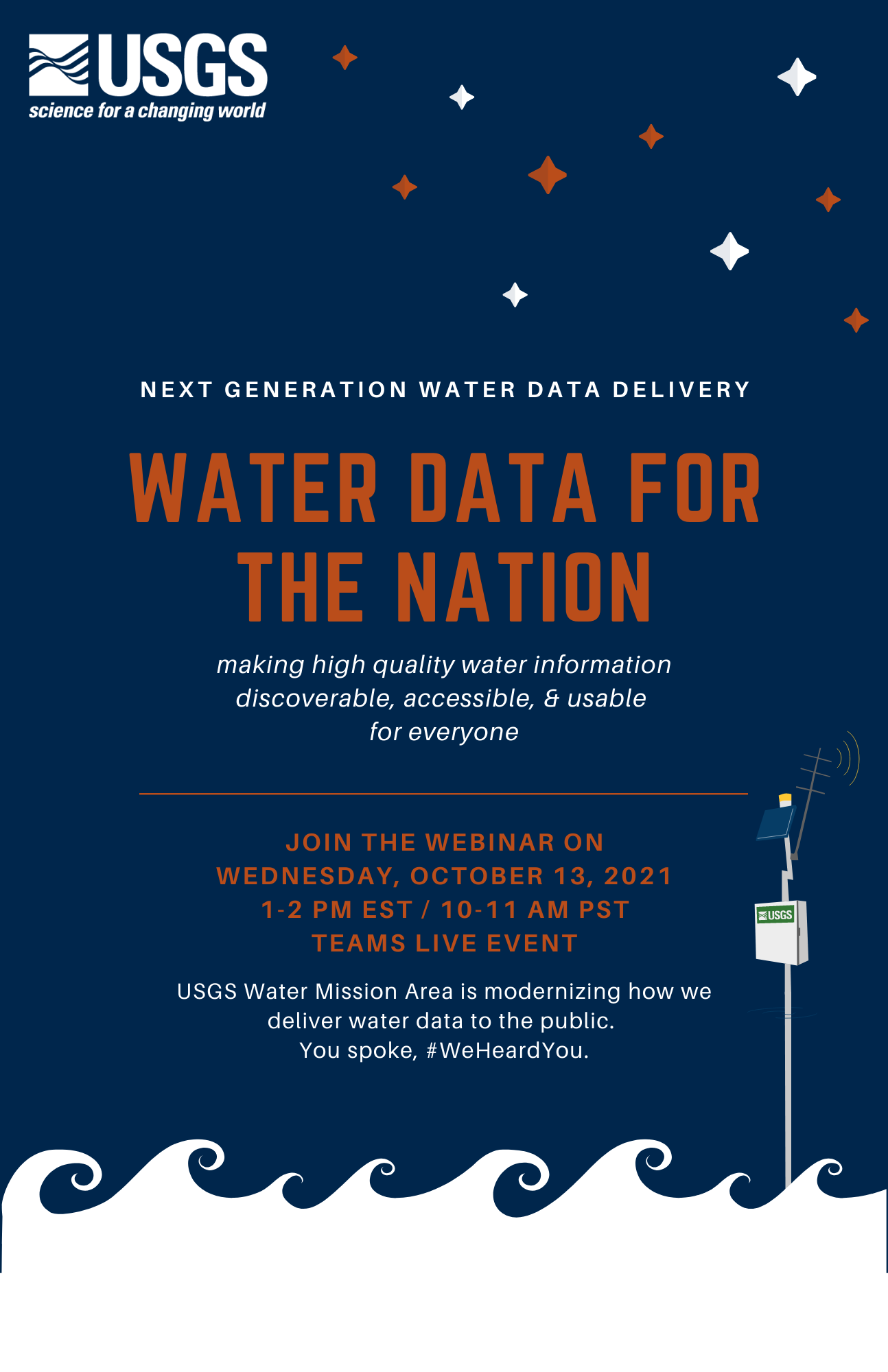 Invite flyer for a public webinar on October 13th at 1:00 pm EST on the WDFN NextGen monitoring location pages.