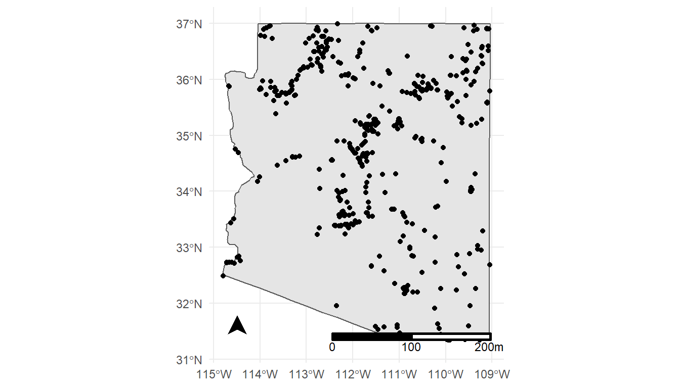 A static map of Arizona, with circular dots where phosphorous measurments were reported.