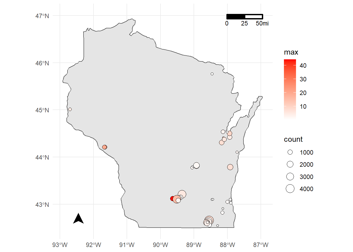 Static map of Wisconsin with sites generated from the WQP.