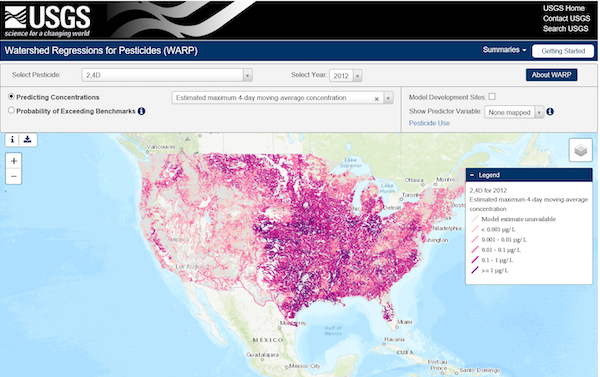 A screenshot of Watershed Regressions for Pesticides (WARP) showing predicted CONUS-wide concentrations over an estimated maximum 4-day moving-average for the pesticide 2,4D in the year 2012.