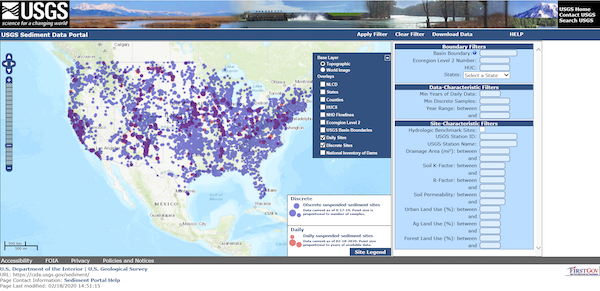 A screenshot of the Sediment Data Portal showing both daily and discrete suspended sediment sites for CONUS.