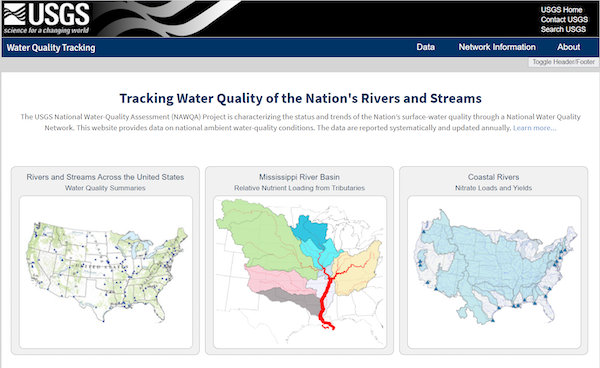 A screenshot of Tracking Water Quality of the Nation's Rivers and Streams showing three options: Rivers and Streams Across the United States (left), Mississippi River Basin (center), and Coastal Rivers (right).