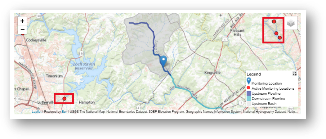 Screenshot that shows the nearby monitoring locations on the map for Long Green Creek at Glen Arm, MD.