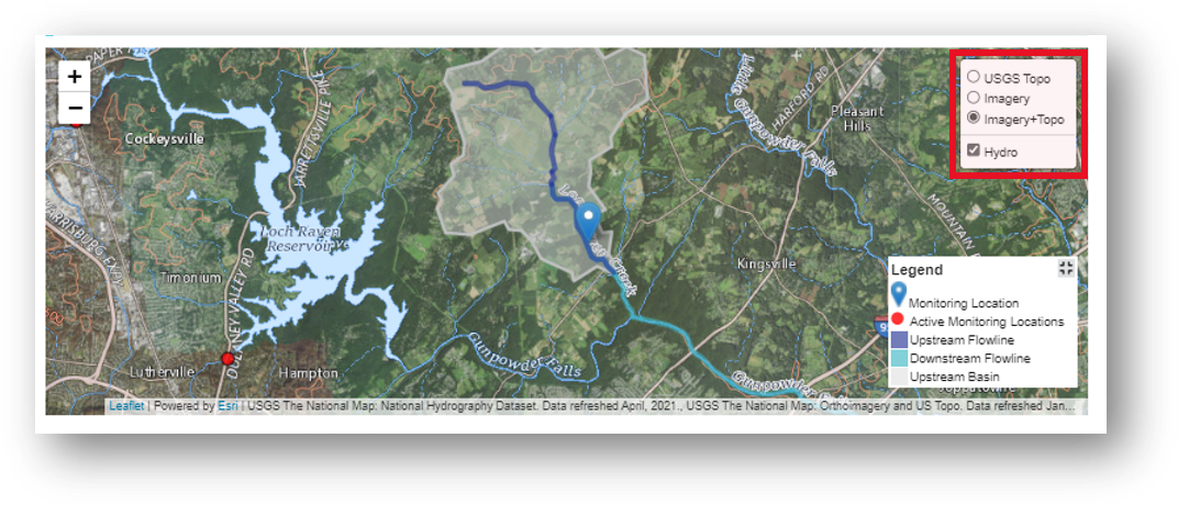 Screenshot that shows the available map layers for Long Green Creek at Glen Arm, MD.