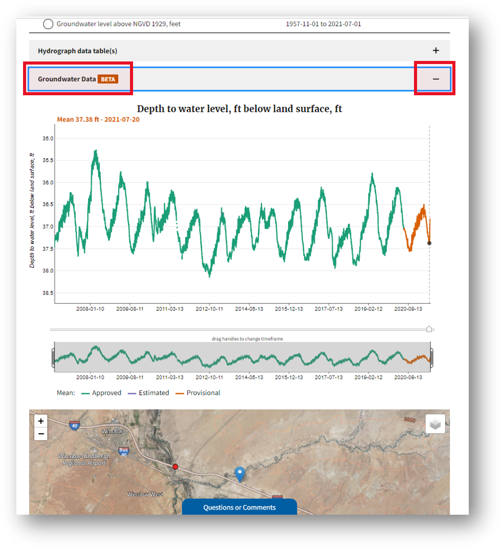 Screenshot that shows the nearby monitoring locations on the map for monitoring location 350002110355501 which is associated with a WELL in NAVAJO COUNTY, ARIZONA.
