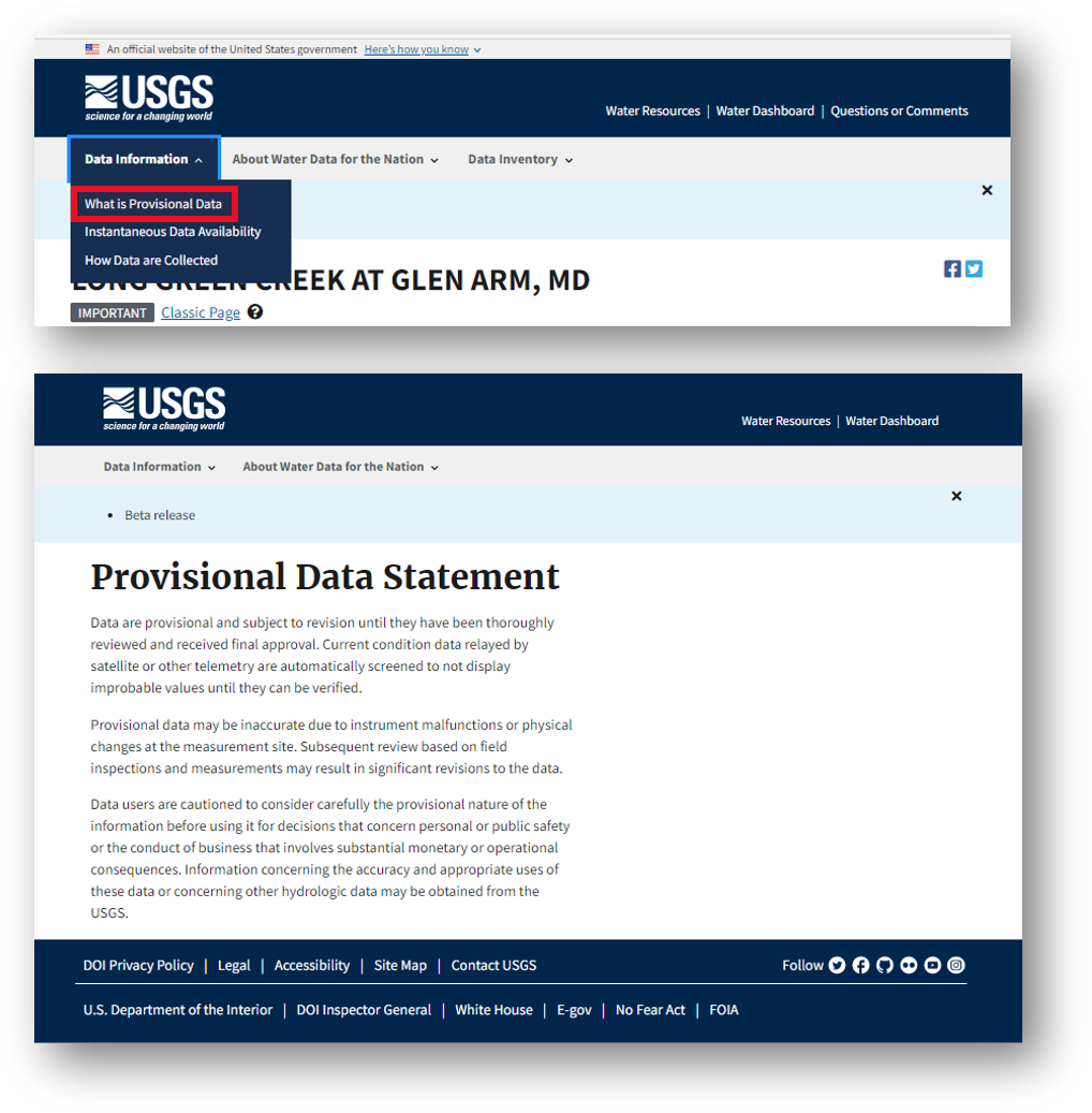 Screenshot that shows a second pathway to view the provisional data statement.