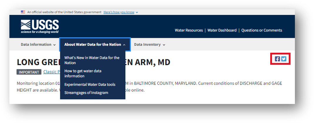 Screenshot of a monitoring location page with a red box highlighting the social media icons in the top right corner.