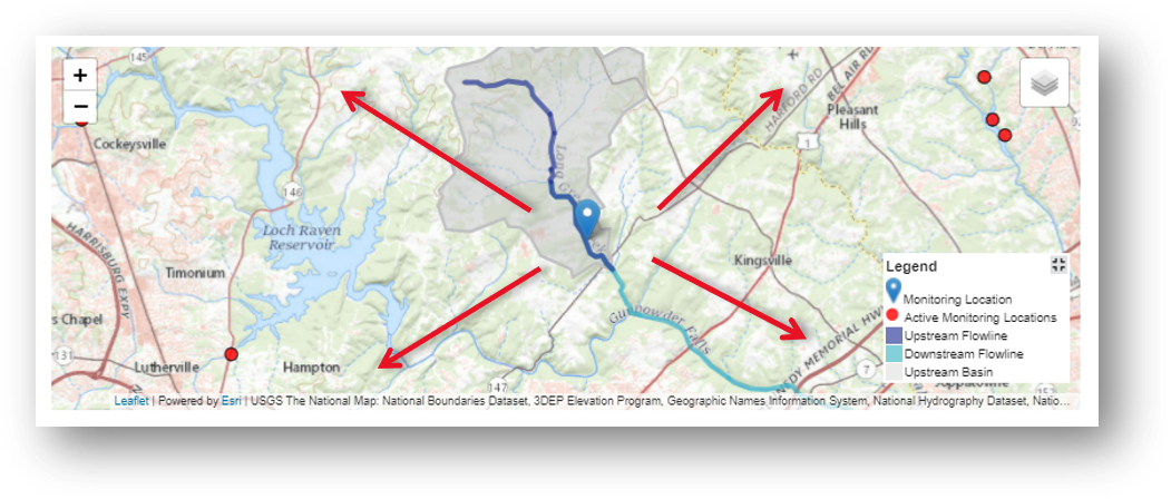 Screenshot that shows the ability to interact with the map for Long Green Creek at Glen Arm, MD.