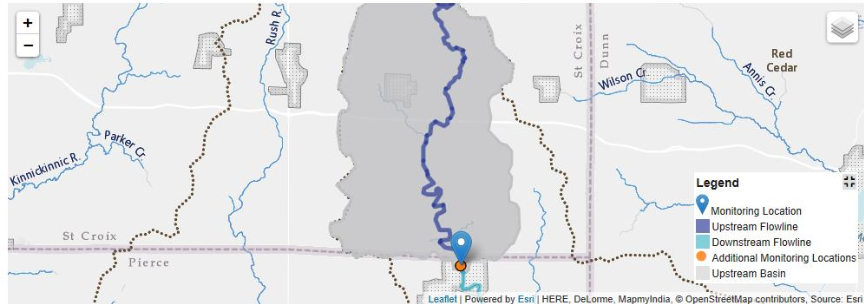 Screenshot of the upstream basin for monitoring location 05370000, Eau Galle River at Spring Valley, WI