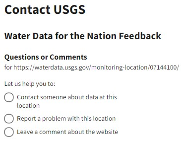 Three options in the questions and comments form to direct the feedback including contacting someone about the data, reporting a problem, and leaving a comment