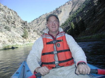 MF Salmon River at mouth near Shoup, ID - USGS hydrographer Bob Erickson